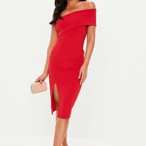 Red One shoulder Missguided dress